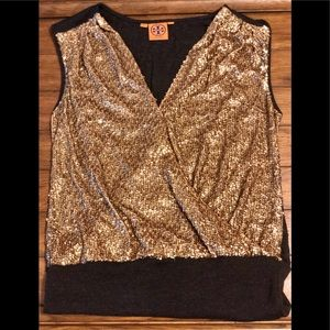 Tory Burch gold sequin top Size M